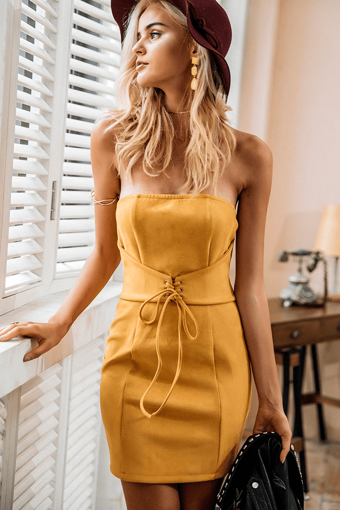 Lace Up Suede Dress