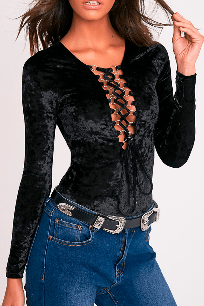 Velvet Lace Up body