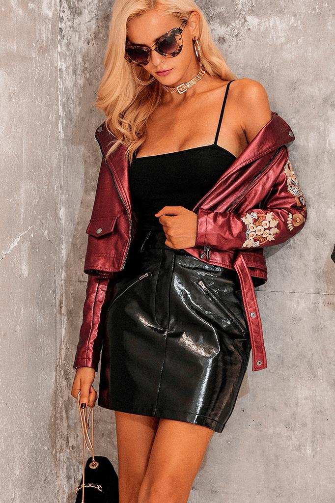 Metallic Faux Leather Jacket