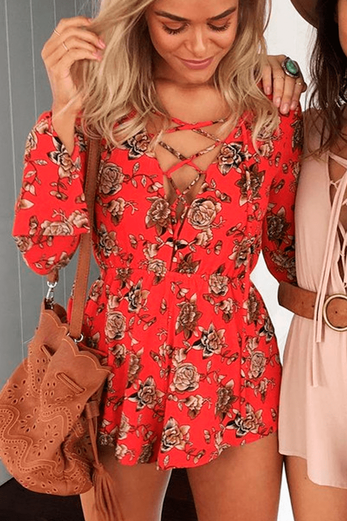 Floral Lace Up Playsuit