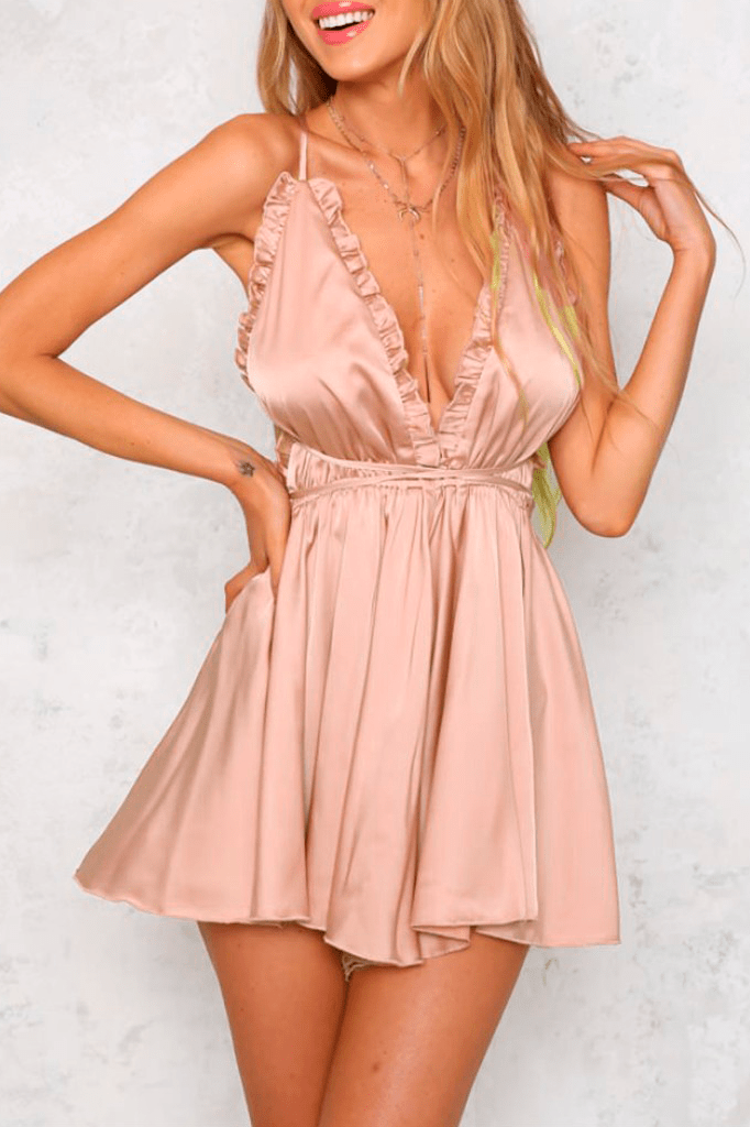 V-Neck Silk Playsuit