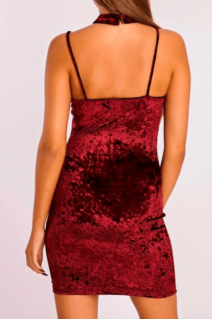 Choker Velvet Mini Dress
