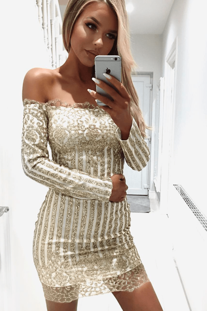 Glitter Long Sleeve Dress