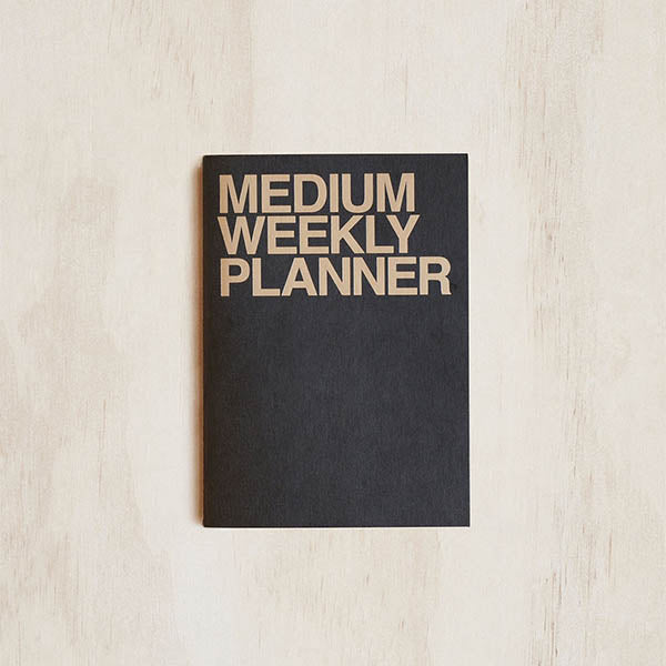 Medium Weekly Planner - Black - Undated