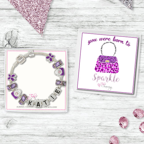 You Were Born To Sparkle Childrens Purple Personalised Name Charm Bracelet