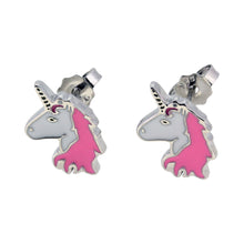 Sterling Silver Unicorn Stud Earrings Mounted On A Personalised Greeting Card