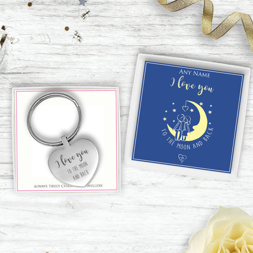 I Love You To The Moon And Back Engraved Heart Keyring