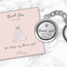Thank You For Being My Flower Girl Floating Charm Keyring Made With 3 Crystals From Swarovski