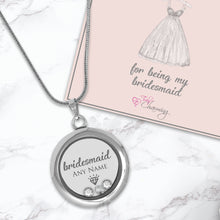 Thank You For Being My Bridesmaid Floating Charm Locket Made With 3 Crystals From Swarovski