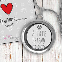 A True Friend Leaves Paw Prints On Your Heart Floating Charm Locket Made With 3 Crystals From Swarovski