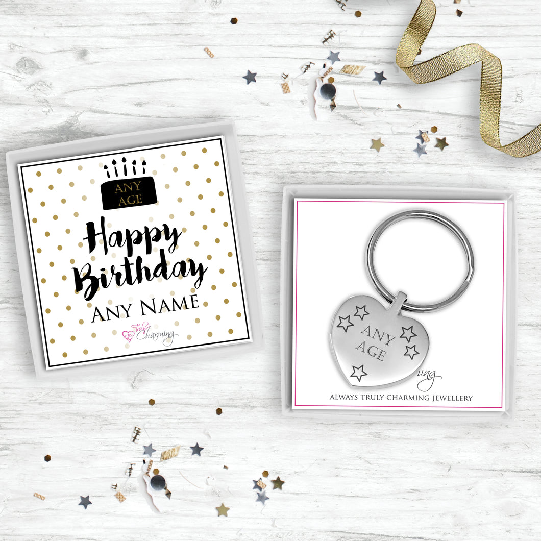 Birthday Heart Keyring Engraved With Recipients Age.