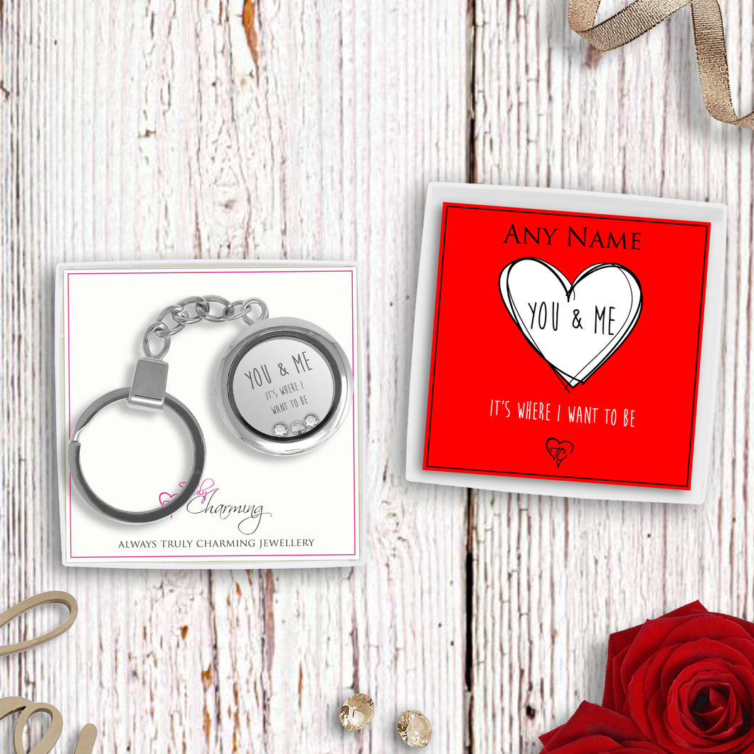 You & Me It's Where I Want To Be Floating Charm Keyring Made With 3 Crystals From Swarovski