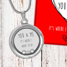 You & Me It's Where I Want To Be Floating Charm Locket Made With 3 Crystals From Swarovski
