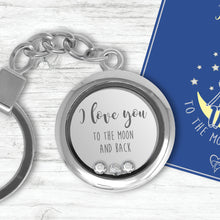 I Love You To The Moon And Back Floating Charm Keyring Made With 3 Crystals From Swarovski