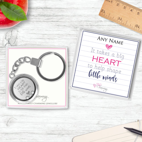 It Takes A Big Heart To Help Shape Little Minds Floating Charm Keyring Made With 3 Crystals From Swarovski