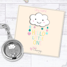 Hello Little One Floating Charm Keyring Made With 3 Crystals From Swarovski