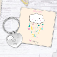 Hello Little One Engraved Heart Keyring