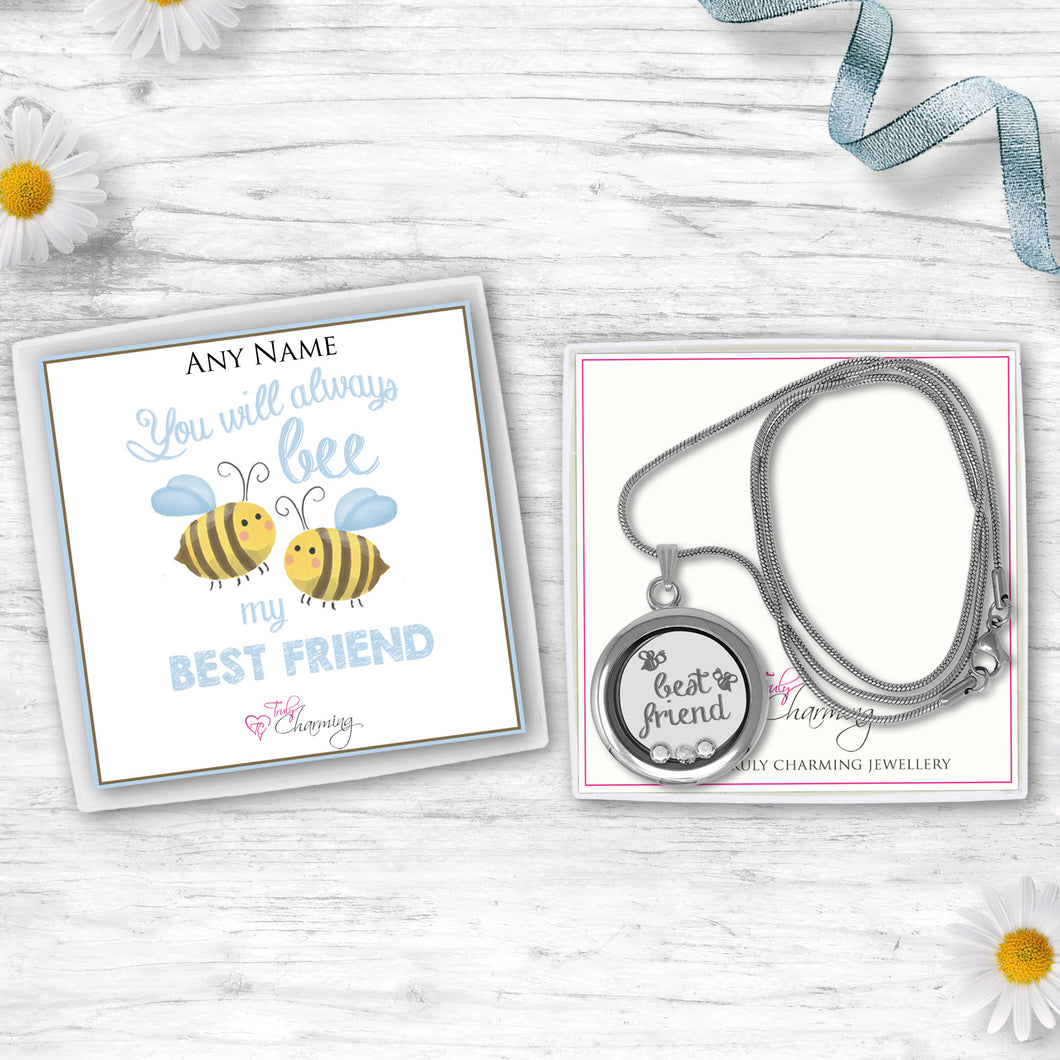 You Will Always Be My Best Friend Floating Charm Locket Made With 3 Crystals From Swarovski