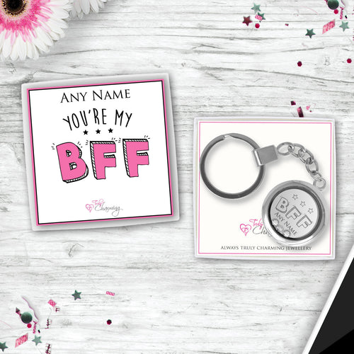 You're My BFF Floating Charm Keyring Made With 3 Crystals From Swarovski