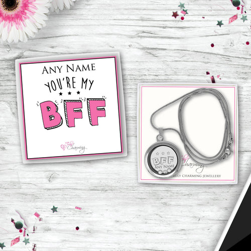 You're My BFF Floating Charm Locket Made With 3 Crystals From Swarovski