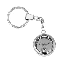 Congratulations! You're Engaged! Floating Charm Keyring Made With 3 Crystals From Swarovski