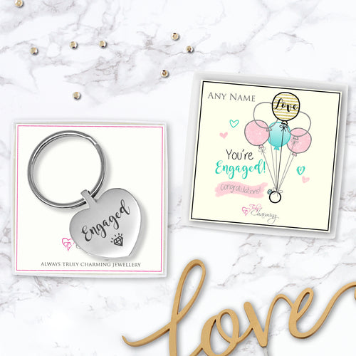 Congratulations! You're Engaged! Engraved Heart Keyring