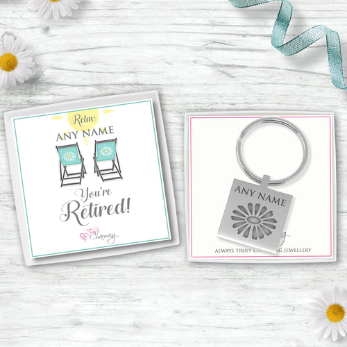 Good Luck On Your Retirement Engraved Square Keyring