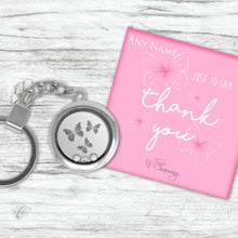 Thank You Floating Charm Keyring Made With 3 Crystals From Swarovski