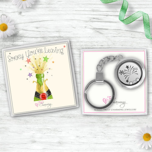 Sorry You're Leaving Floating Charm Keyring Made With 3 Crystals From Swarovski