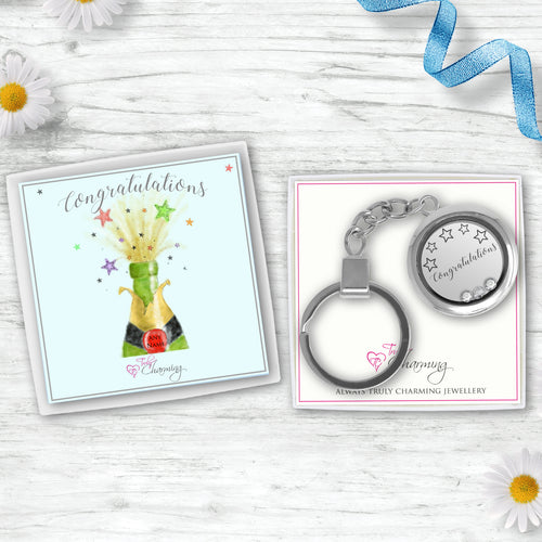 Congratulations Floating Charm Keyring Made With 3 Crystals From Swarovski