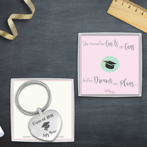 Congratulations On Your Graduation Engraved Heart Keyring