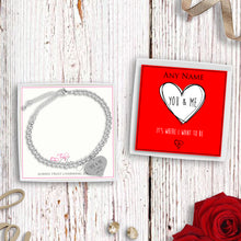 You & Me It's Where I Want To Be Silver Plated Beaded Bracelet With An Engraved Heart Dangle