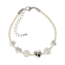 Dogs Leave Paw Prints On Your Heart Adjustable Leather Charm Bracelet