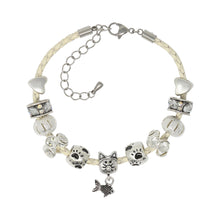 Cats Leave Paw Prints On Your Heart Adjustable Leather Charm Bracelet