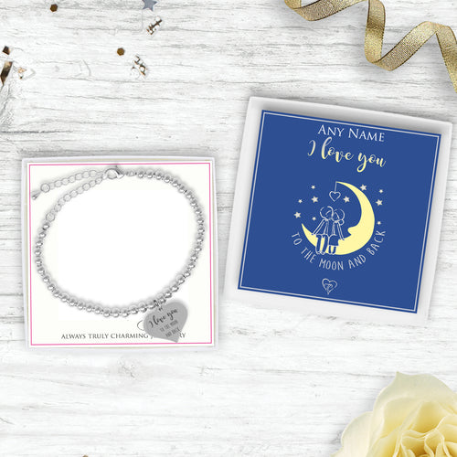 I Love You To The Moon And Back Silver Plated Beaded Bracelet With An Engraved Heart Dangle