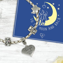 I Love You To The Moon And Back Genuine Leather Charm Bracelet With An Engraved Heart Dangle