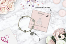 Thank You For Being My Maid Of Honour Genuine Leather Charm Bracelet With An Engraved Heart Dangle