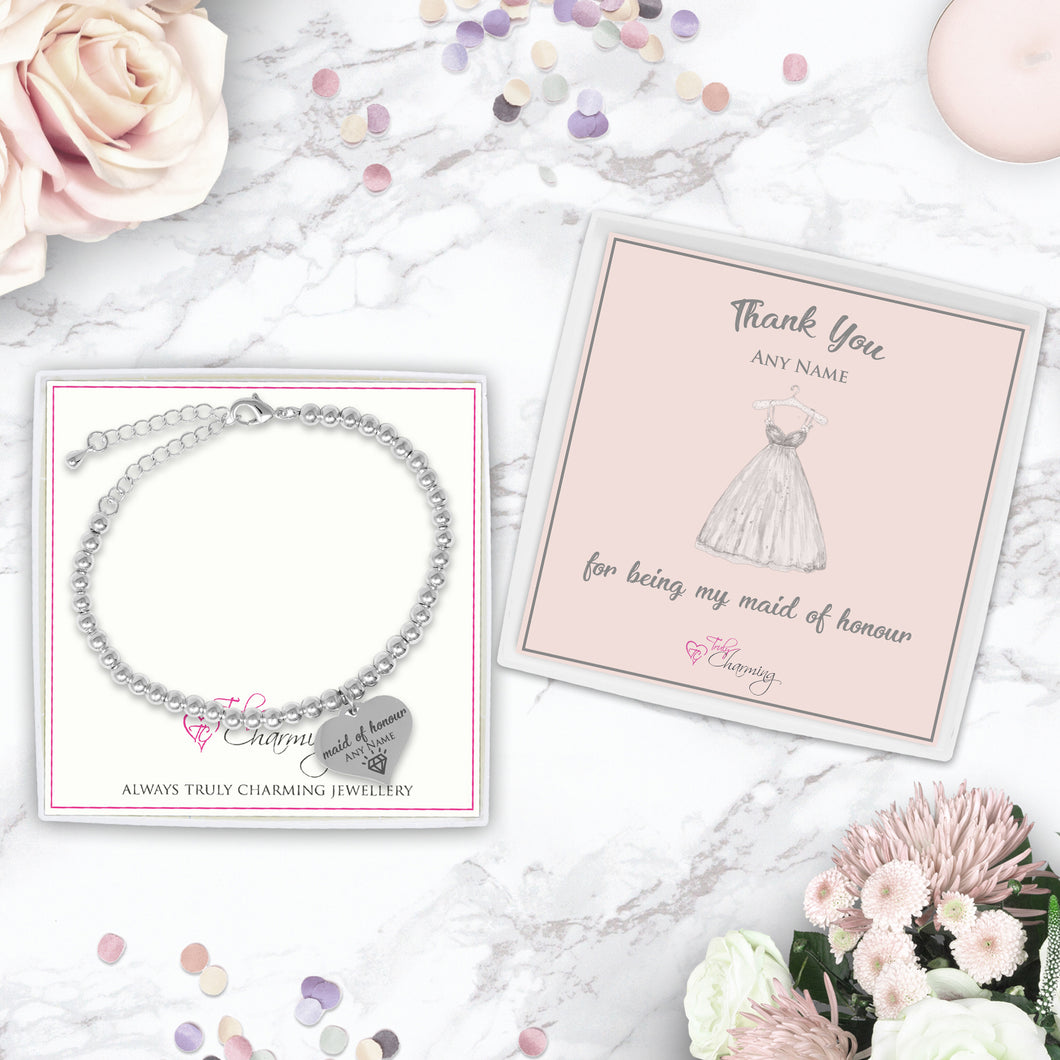 Thank You For Being My Maid Of Honour Silver Plated Beaded Bracelet With An Engraved Heart Dangle