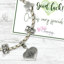 Good Luck Genuine Leather Charm Bracelet With An Engraved Heart Dangle