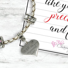 Teachers Like You Are Precious And Few Genuine Leather Charm Bracelet With An Engraved Heart Dangle