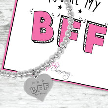 You're My BFF Silver Plated Beaded Bracelet With An Engraved Heart Dangle