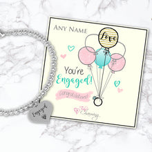 Congratulations! You're Engaged! Silver Plated Beaded Bracelet With An Engraved Heart Dangle