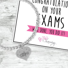 Congratulations On Your Exams 2018 Silver Plated Beaded Bracelet With An Engraved Heart Dangle