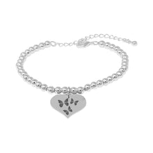 Thank You Silver Plated Beaded Bracelet With An Engraved Heart Dangle