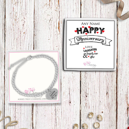 Love Laughter & Happily Ever After Silver Plated Beaded Bracelet With An Engraved Heart Dangle