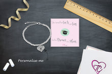 Congratulations On Your Graduation Silver Plated Beaded Bracelet With An Engraved Heart Dangle