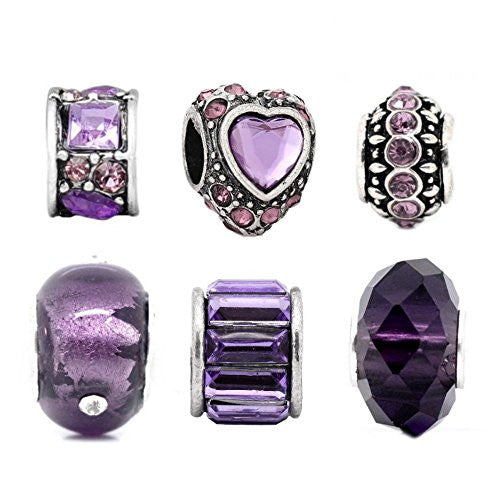 Purple Charm Set Of 6 For Pandora Troll Chamilia Style Charm Bracelets