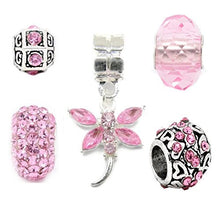 Silver Pink Charms Bead Set Of 5 For Pandora Troll Chamilia Style Charm Bracelets