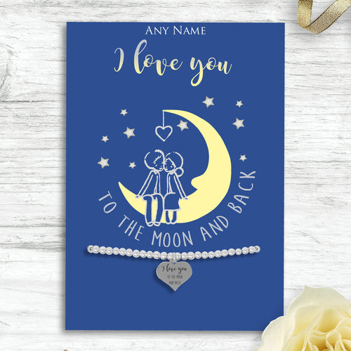 Silver Plated Adjustable Beaded Bracelet With An Engraved Heart Dangle Mounted On A Personalised I Love You To The Moon And Back Greeting Card