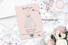 Silver Plated Adjustable Beaded Bracelet With An Engraved Heart Dangle Mounted On A Personalised Thank You For Being My Flower Girl Greeting Card